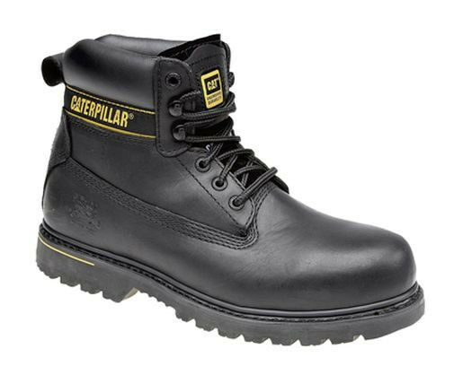 MENS SIZE 7 - 13 CAT CATERPILLER HOLTON BLACK LEATHER SAFETY TOE CAP WORK BOOTS