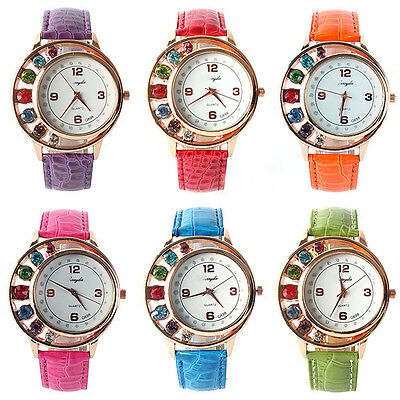 Fashion Crystal Women Ladies Girl Dress Leather Bracelet Quartz Wrist Watch Hot