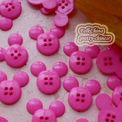 Hot pink  Mickey Shape 20mm Plastic Buttons Sewing Scrapbooking Craft