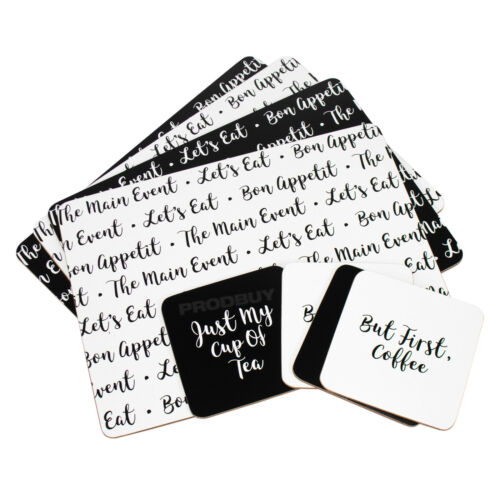 Set of 4 Placemats Coasters Dinner Table Place Setting Mat Lets Eat Black White