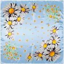 "New Arrival Women's Orange blue Sunflower Printed Satin Square Scarf 35""*35"""