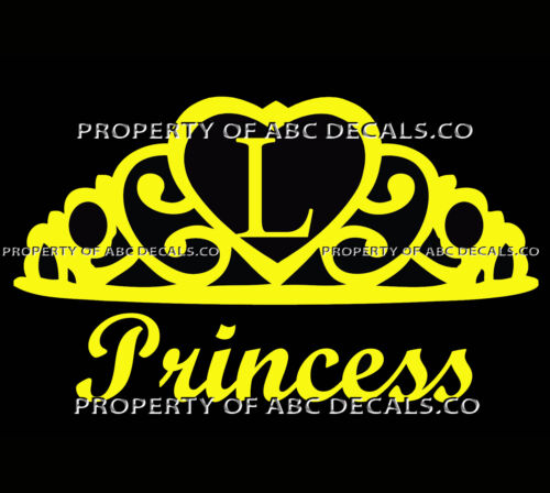 VRS Crown Royal Tiara Queen Princess Heart Love Custom INITIAL L Car Vinyl Decal