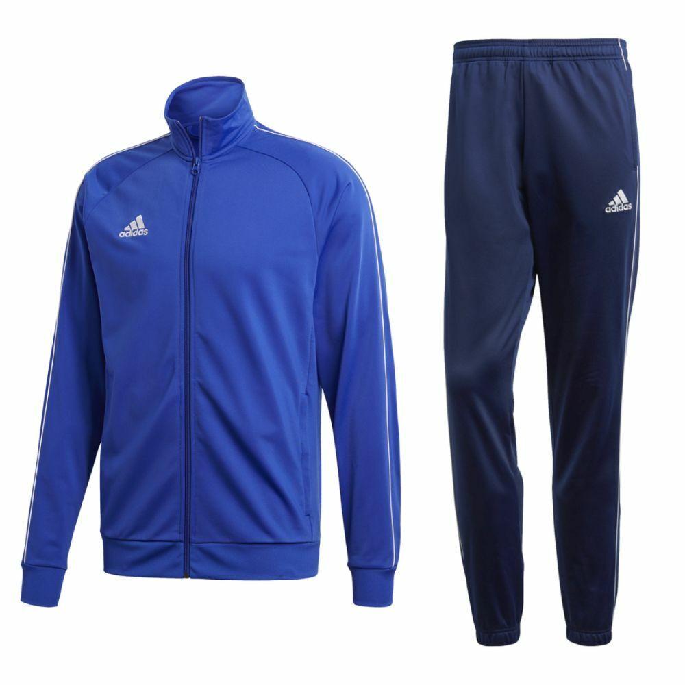 CALCIO Adidas Core 18 Poliestere Tuta Giacca Pantaloni Bambini Blu