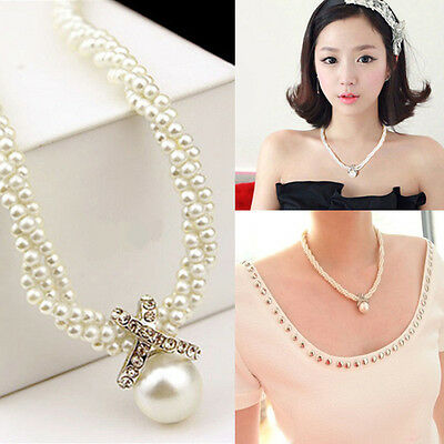 Fashion Crystal Choker Pendant Chunky Pearl Statement Bib Necklace Chain Jewelry
