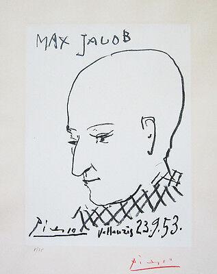 "PABLO PICASSO Hand Signed 1953 Original Lithograph - ""Portrait of Max Jacob"""