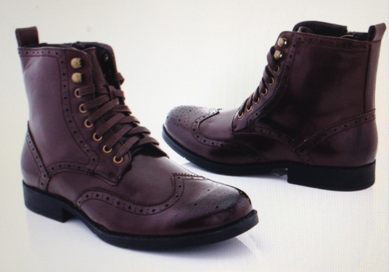 NEW Adolfo Men's Oxford Dress Boots, S 1292 style, dark Brown Size 8