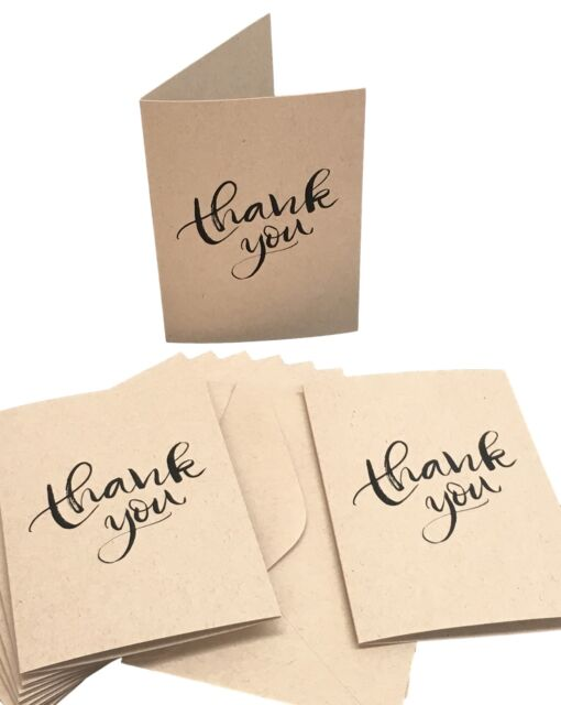 Thank You Cards 100 Recycled Card With Matching Envelopes Pack 10