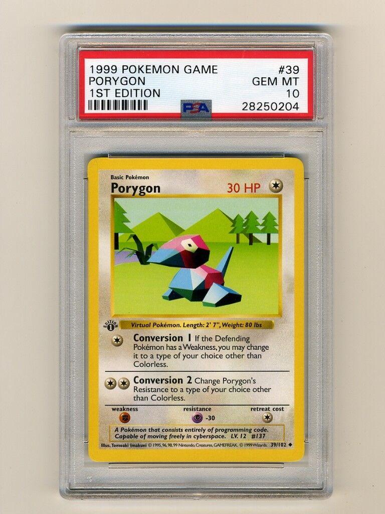 POKEMON PSA 10 GEM GEM GEM MINT PORYGON 1ST EDITION SHADOWLESS BASE SET 1999 CARD 39 102 e0114d