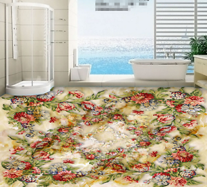 3D Red bluee Flower 86 Floor WallPaper Murals Wall Print 5D AJ WALLPAPER UK Lemon