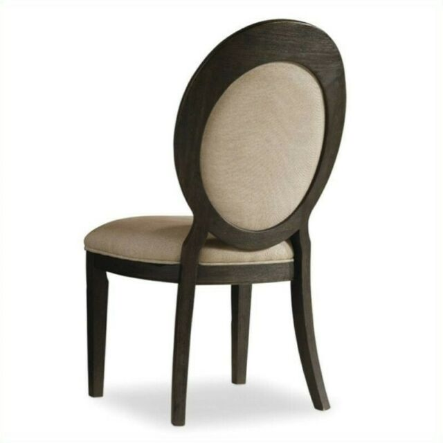 Oval Back Dining Chair In Dark Wood