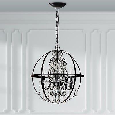 Crystal Beaded Globe Chandelier Black Round Orb Cage Swag Lighting Fixture Lamp 705911575066 Ebay