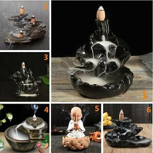 14 Types Ceramic Backflow Incense Burner Porcelain Buddhist Censer Holder &Cones