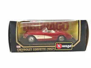 Burago-Corvette-1957-Chevrolet-1-24-Scale-Vintage-Die-Cast-Model-NIB