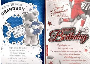 Image Is Loading 18th Birthday Card For Grandson Various Designs To