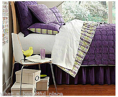 4-Pc Studio D Skylar Purple White Braided Full-Queen Quilt Set REVERSIBLE Plaid