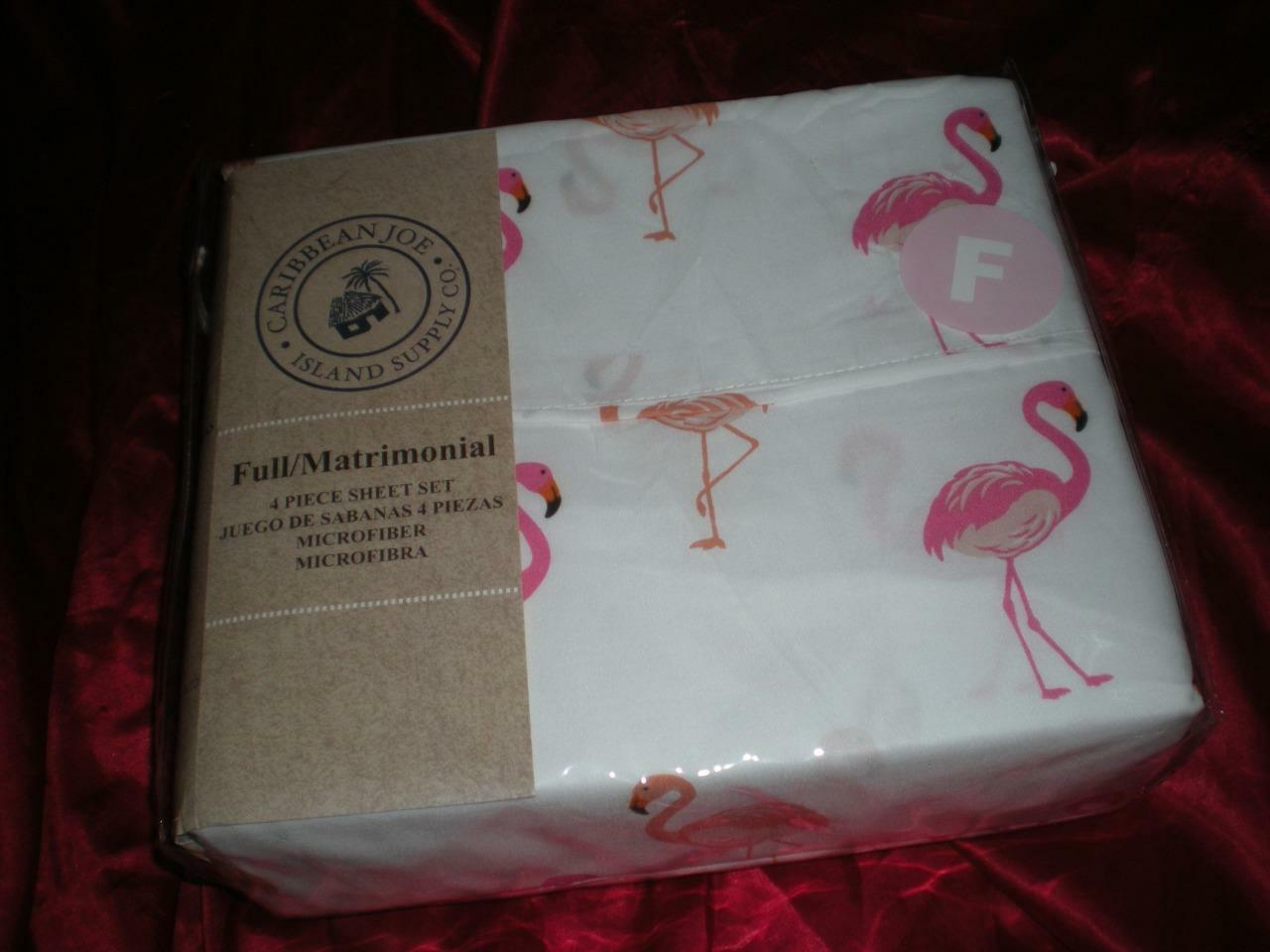 NIP CARIBBEAN JOE ISLAND CO PINK FLAMINGO FULL SHEET SET 1FIT 1FLAT 2STD PILLOW