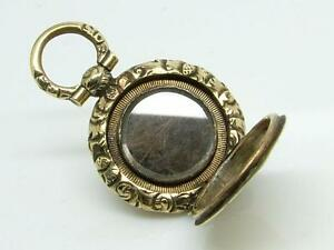 Antique Tiny Georgian Gilt Metal/Brass Engraved Mourning Hair Pendant/Locket