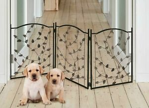 Details About Pet Gate For Dogs Free Standing Folding Decorative Metal Fence Barrier Doorway