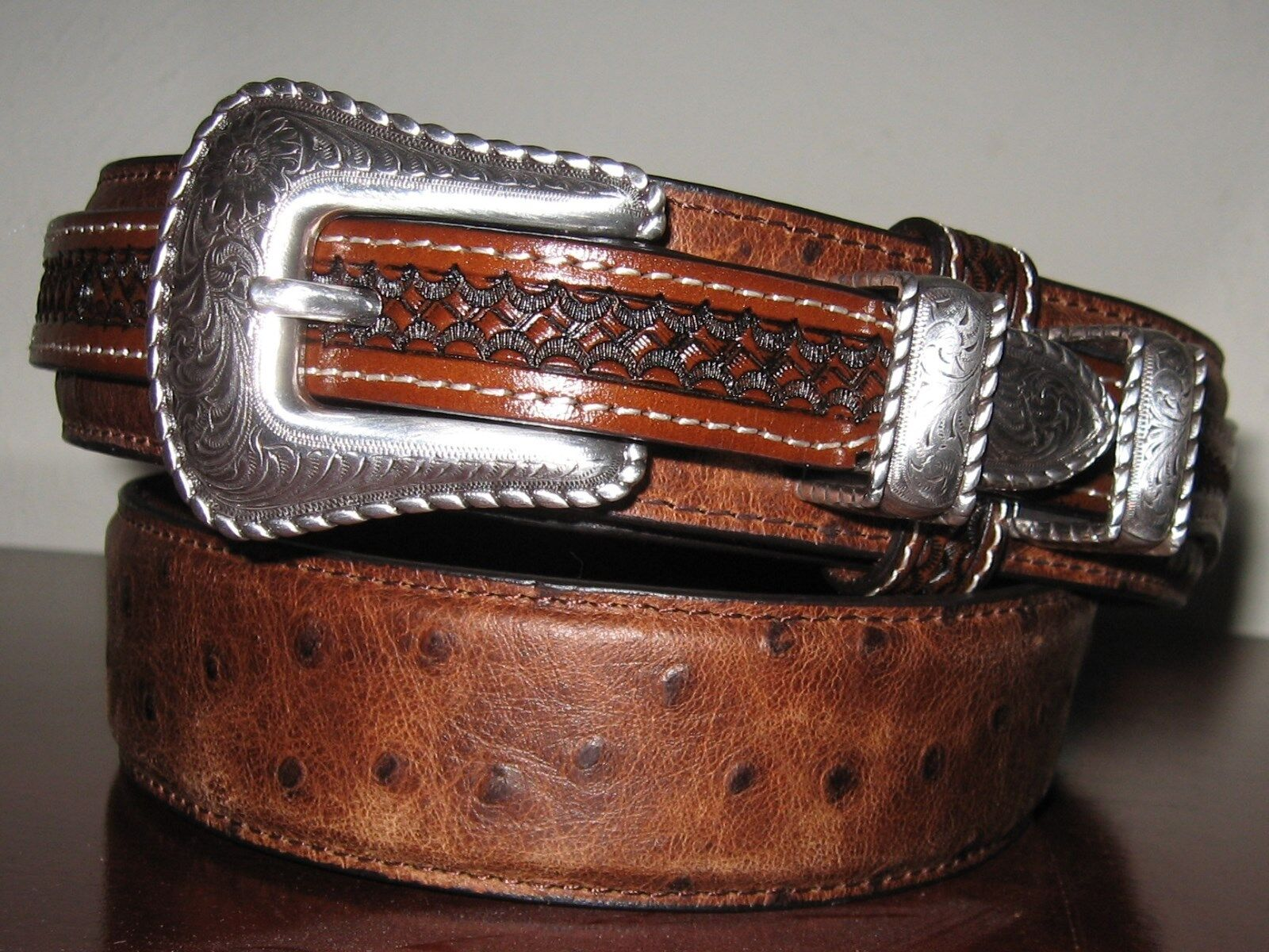 WESTERN LEATHER OSTRICH STAMPED UNISEX BELT RANGER 1 3 8 RODEO BELT SZ 36