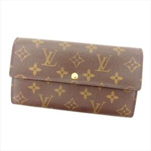 Louis-Vuitton-Wallet-Purse-Monogram-Canvas-Brown-Woman-Authentic-Used-T8322