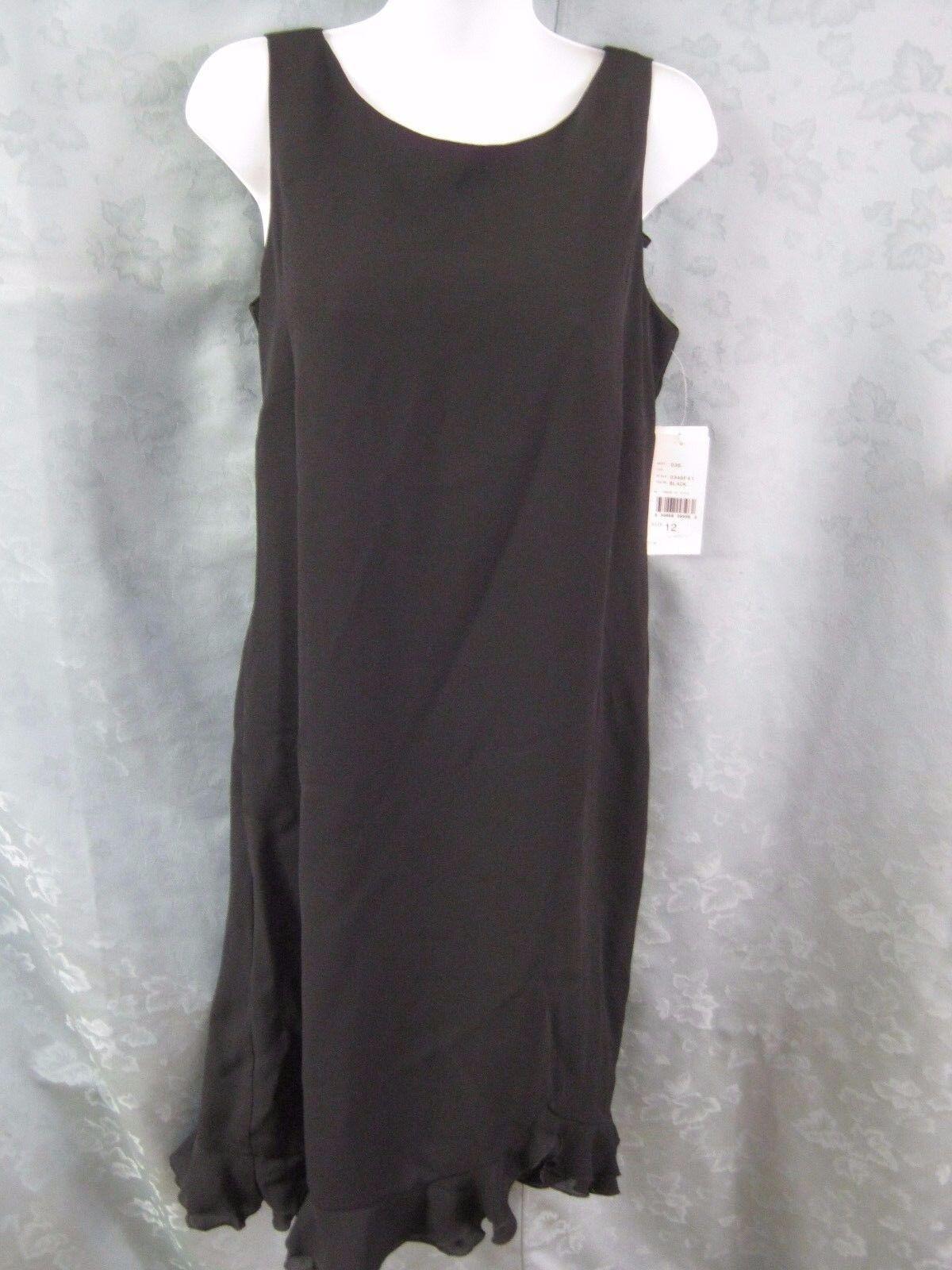 AGB Dress Size 12 Sleeveless Classic Ruffled Hem LBD Fully Lined NWT NEW