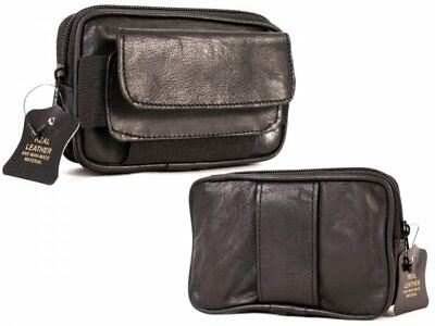 SOFT BLACK GENUINE LEATHER COIN POUCH WALLET CAMERA PURSE WITH BELT LOOP