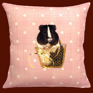 CUSHION-pad-included-CUTE-GUINEA-PIGS-ON-PEACH-WITH-WHITE-POLKA-DOT-12-034-PILLOW