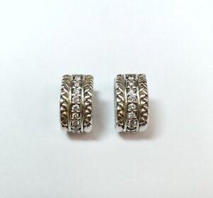 ae55825a0334c SCOTT KAY STERLING SILVER AND DIAMOND BASKET WEAVE HOOP EARRINGS | eBay