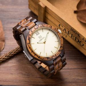 18ba26a5f91 UWOOD Mens Wooden Watches Nature Wood Quartz Watch Relogio Masculino ...