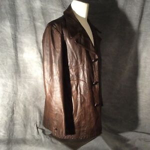 94fa8716 Men's Brown Vintage Leather Jacket 3/4 Length, Brown Buttons | eBay
