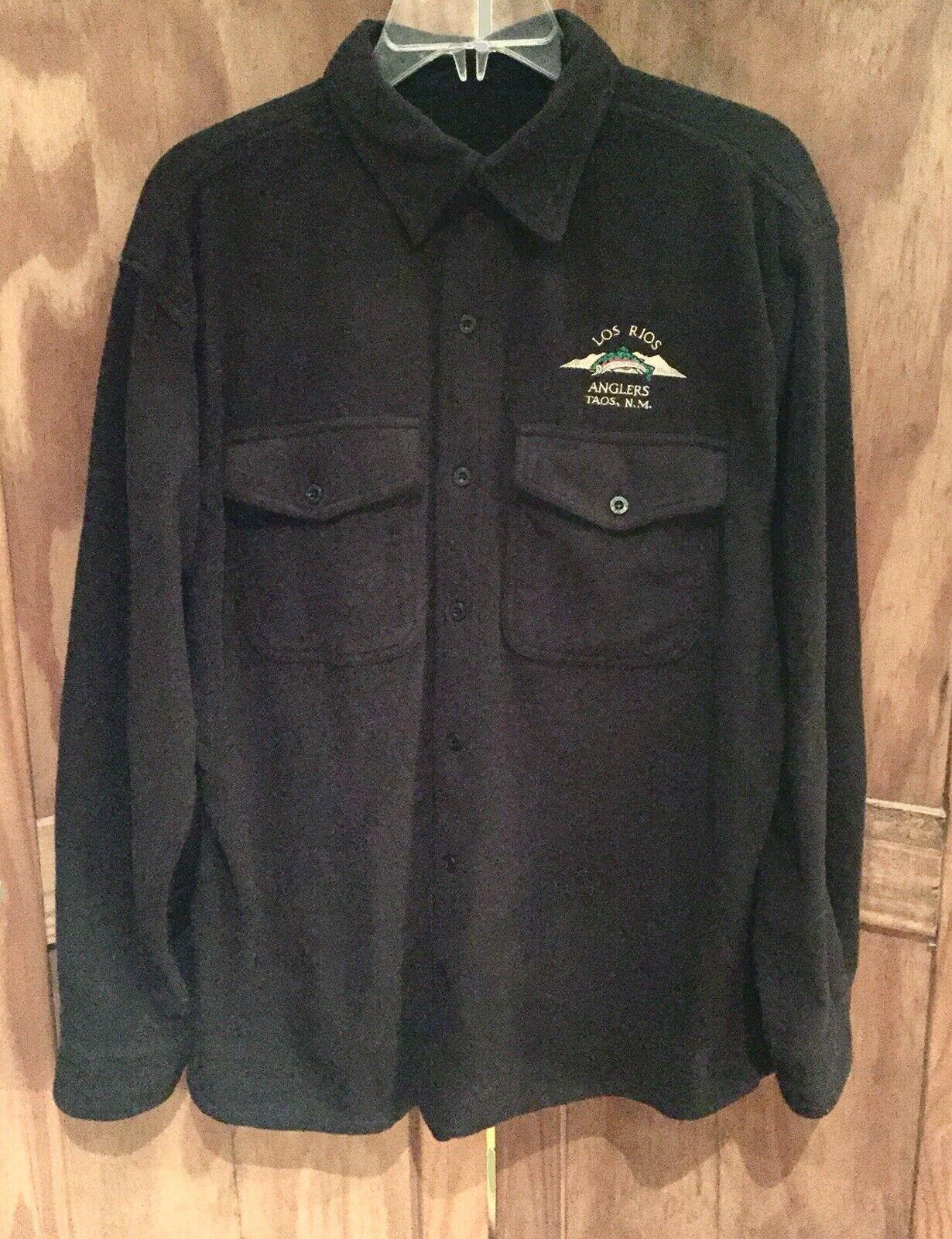 """LOS RIOS ANGLERS"", Taos  NM - outdoors  Fishing Polar Fleece LS Shirt Blk, Large  online shopping sports"