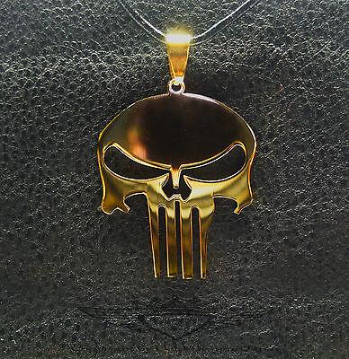 Kettenanhänger, Anhänger, Punisher, Skull, Totenkopf, 24 Karat vergoldet, gold
