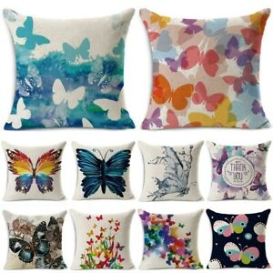 Butterfly Cushion Cover Pattern Decorative Pillow Case Cotton Linen Square Throw Ebay