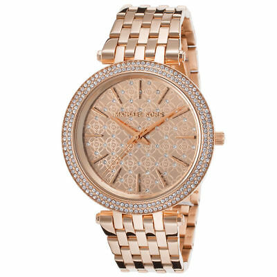 1b3934d48369 ... michael kors darci rose gold tone monogram dial mk3399 39mm las watch  ...