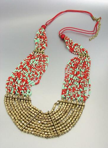 GORGEOUS Artisanal Coral Red Turquoise Brass Beads Long Necklace Earrings Set