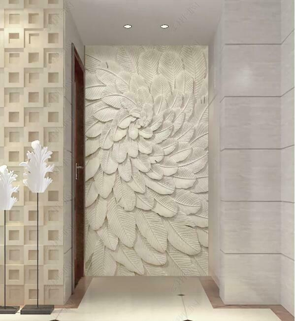 3D Weiß Feather N1379 Wallpaper Wall Mural Removable Self-adhesive Sticker Amy