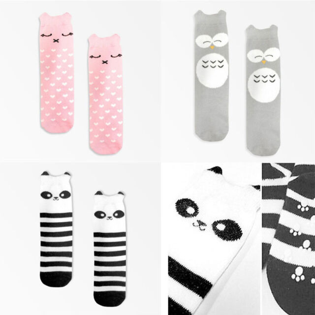 Cute Anti-slip Girl Boy Animal School Cotton Knee High Stockings Kids Baby Socks