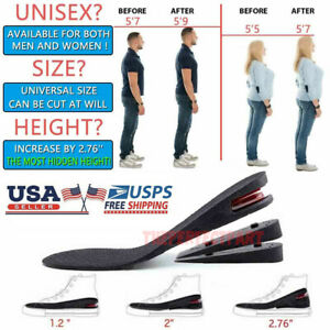 Unisex 4 Layers Shoe Insoles Air Cushion Heel Insert Increase Height Taller