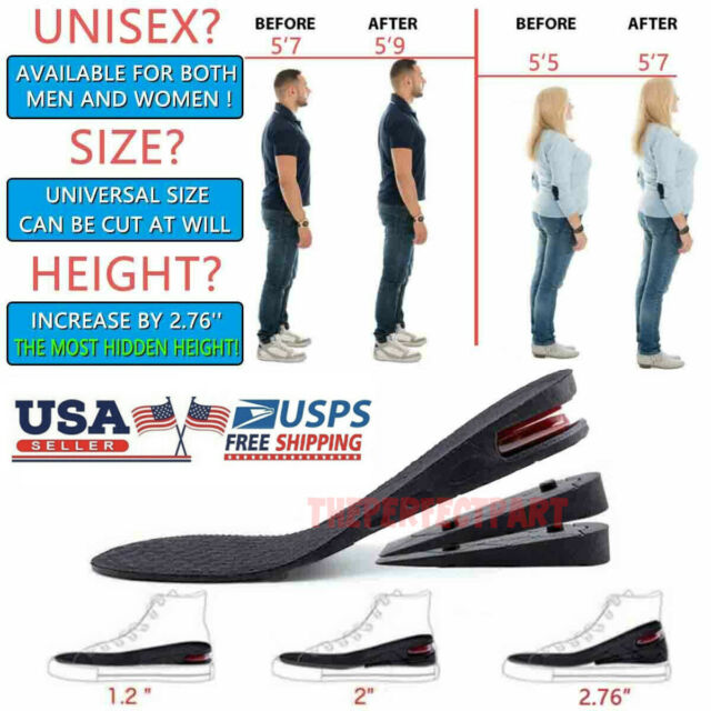 Cushion Pads Heel Insert Increase Taller Height Lift Men Women Shoes Insoles