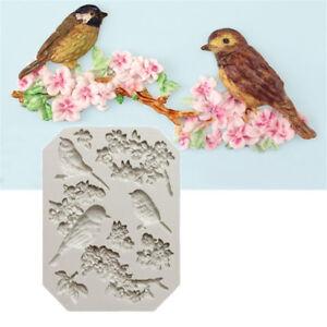 Oiseau-et-fleur-silicone-fondant-moule-Cake-Decor-outils-chocolat-Gumpaste-moule