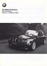 BMW Z3 Roadster Coupe 1.8 2.0 2.8 M Preisliste Preise Ausstattungen 1999 48