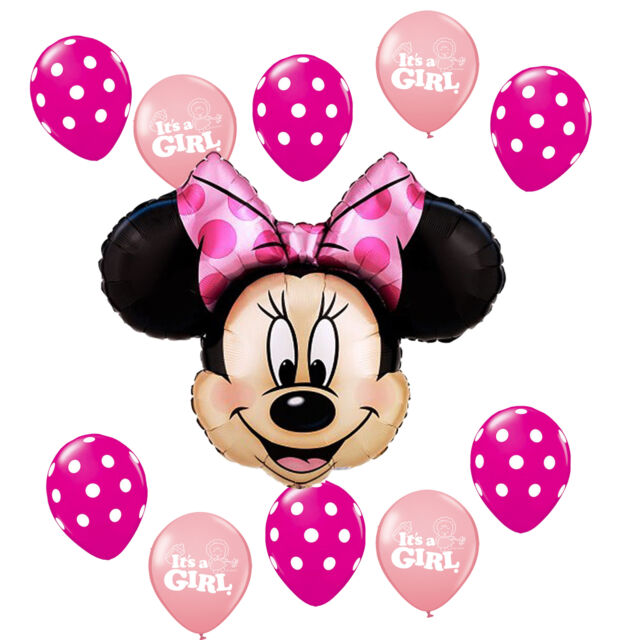 Baby Shower Supplies Minnie Mouse Pink Polka dots It's a Girl Foil Latex balloon