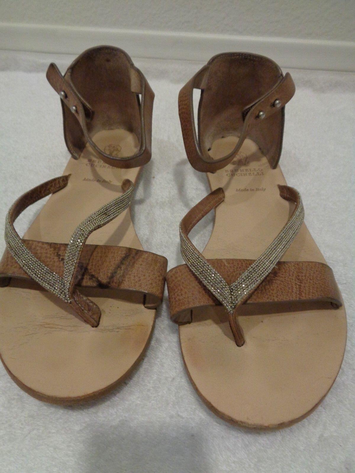 Brunello Cucinelli Beaded Pelle Sandals Open Toe w/Ankle Strap 35/5