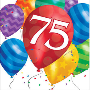 Image Is Loading Happy 75th Birthday Age 75 Party Supplies BALLOON