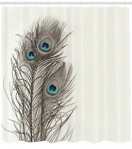 Details About Natural Peacock Feather Ecru Shower Curtain Extra Long 84 Inch