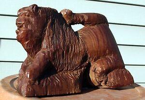 Antique-American-Folk-Art-Hand-Carved-Tree-Burl-Lion-Carving-Wood-Wooden-OOAK