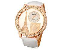 Reloj Analógico Mujer Torre Eiffel Blanco Dorado Woman Analogic Watch A1860
