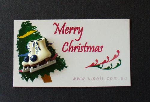 MERRY CHRISTMAS  ACRYLIC SKATE PIN WITH TAG