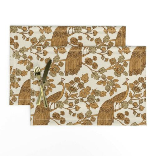 Cloth Placemats Peacock Chinoiserie Garden Rococo Gold Set of 2