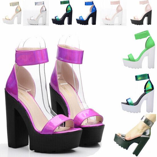 Womens Block Chunky High Heel Ankle Strap Roman Platform Platform Platform Goth Sandal Party shoes 5b24b9